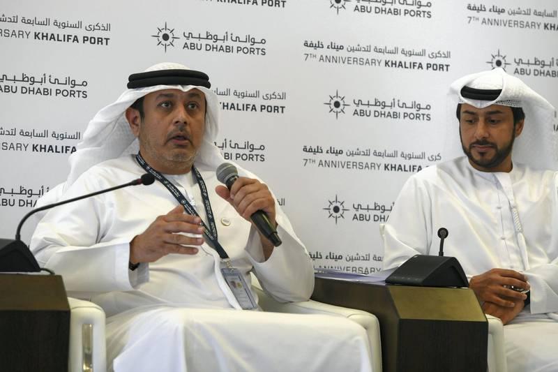 Abu Dhabi, United Arab Emirates - Naser AlBusaeedi, Deputy CEO, CSP Abu Dhabi Terminal speaks at the 7th anniversary of Khalifa Port. Khushnum Bhandari for The National