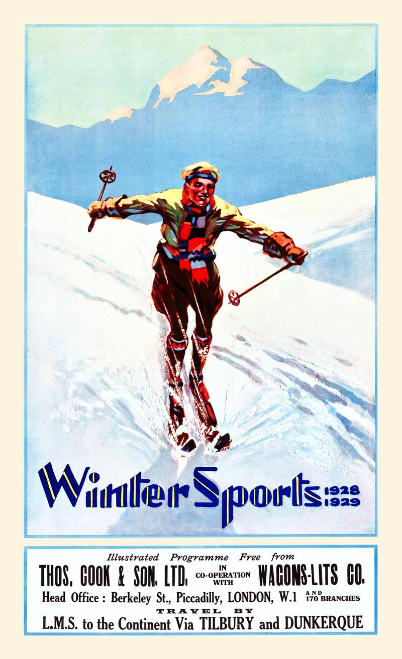 Poster (produced by the Thomas Cook & Son and Wagons-Lits travel agencies) promotes travel to the 'Continent' (from England) for winter sports destinations with an illustration of a downhill skier, 1929. (Photo by Buyenlarge/Getty Images)