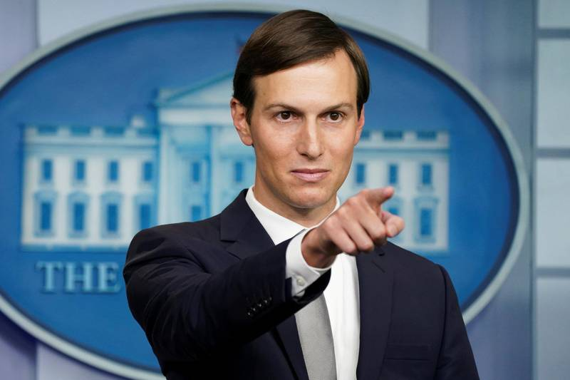 FILE PHOTO: White House adviser Jared Kushner speaks during a press briefing on the agreement between Israel and the United Arab Emirates at the White House in Washington, August 13, 2020.  REUTERS/Kevin Lamarque/File Photo