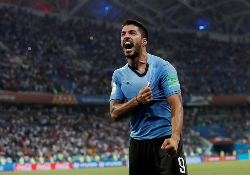 FILE PHOTO: World Cup - Round of 16 - Uruguay vs Portugal - Fisht Stadium, Sochi, Russia - June 30, 2018   Uruguay's Luis Suarez celebrates after the match.  REUTERS/Murad Sezer/File Photo