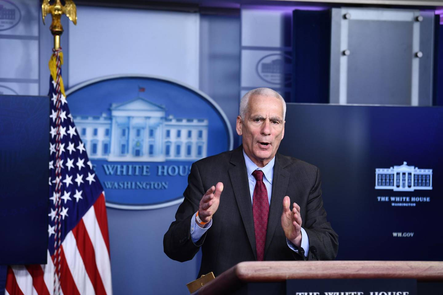White House Council of Economic Advisors member Jared Bernstein talks to reporters during the daily briefing at the White House, in the Brady Press Briefing Room on February 05, 2021 in Washington, DC.  / AFP / Brendan Smialowski