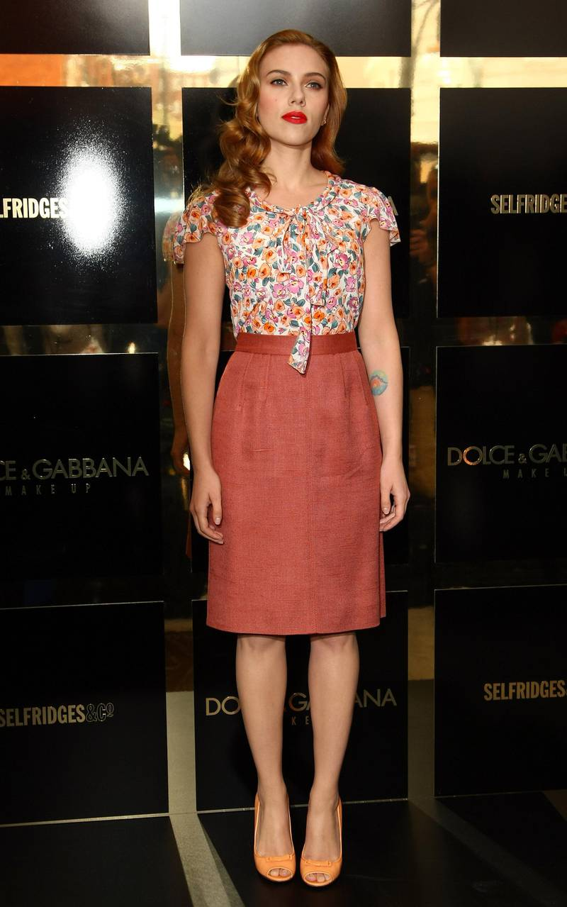 LONDON, ENGLAND - JULY 31:  Scarlett Johansson attends the launch of the Dolce & Gabbana cosmetics launch at Selfridges on July 31, 2009 in London, England.  (Photo by Gareth Cattermole/Getty Images)