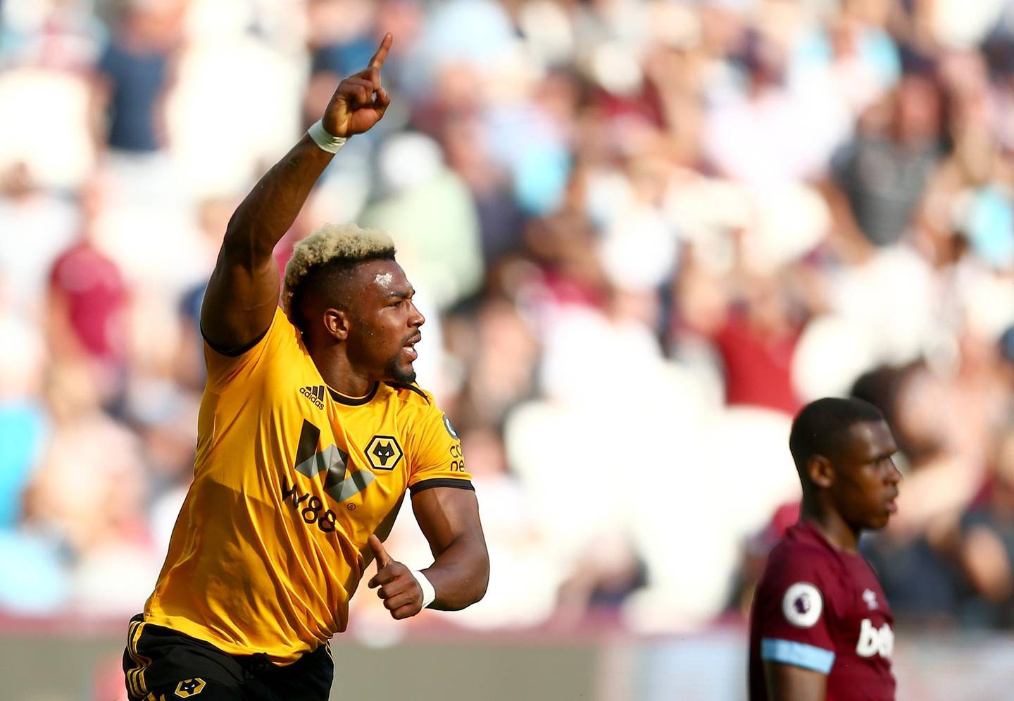 LONDON, ENGLAND - SEPTEMBER 01:  Adama Traore of Wolverhampton Wanderers celebrates after scoring his team's first goal during the Premier League match between West Ham United and Wolverhampton Wanderers at London Stadium on September 1, 2018 in London, United Kingdom.  (Photo by Jordan Mansfield/Getty Images)