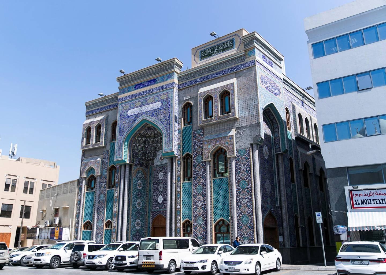 DUBAI, UNITED ARAB EMIRATES.  1 MARCH 2021. Ali Ibn Abi Talib Mosque on Ali Bin Abi Taleb Street in Bur Dubai.Photo: Reem Mohammed / The NationalReporter: Kelly