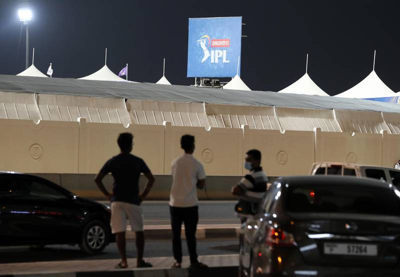 Sharjah, United Arab Emirates - Reporter: Paul Radley. Sport. People who wait outside Sharjah cricket stadium to try and get ball hit from the IPL. Monday, October 26th, 2020. Sharjah. Chris Whiteoak / The National