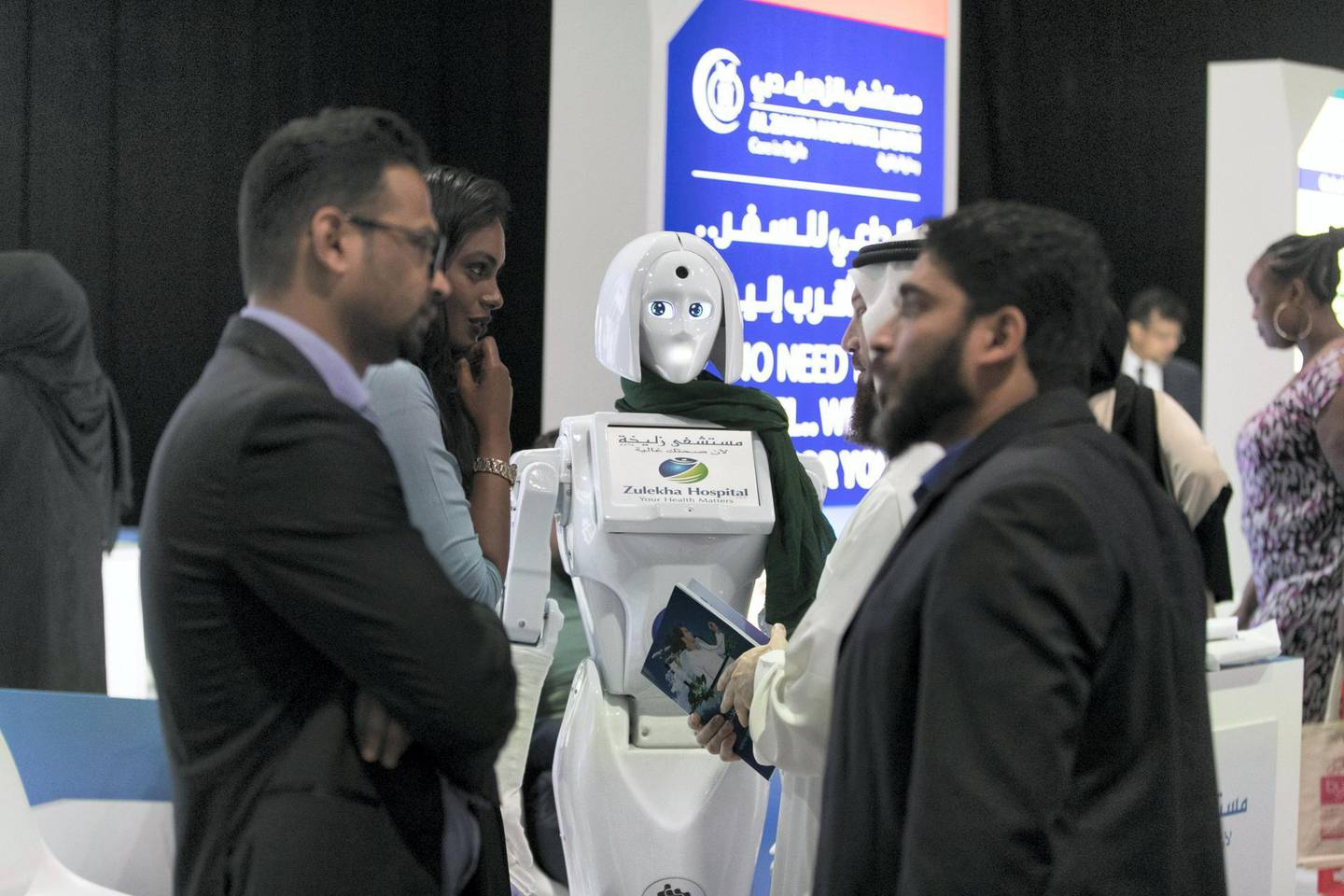 DUBAI, UNITED ARAB EMIRATES - Feb 21, 2018.Zulekha Hospital displays an assistance robot at their booth in Dubai International Health Tourism Forum.(Photo: Reem Mohammed/ The National)Reporter: Nick WebsterSection: NA