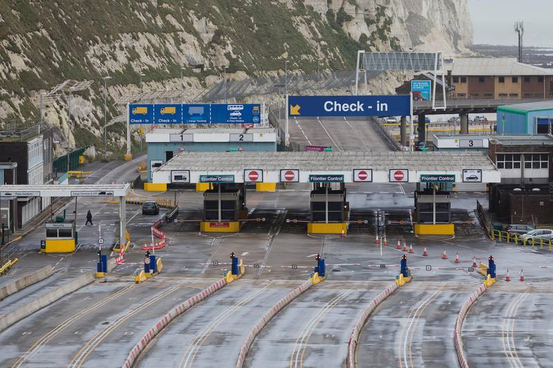 epa08899574 A view of the empty port in Dover, Britain, 22 December 2020. France has closed its border with the UK for 48 hours over concerns about the new coronavirus variant. Freight lorries cannot cross by sea or through the Eurotunnel and the Port of Dover has closed to outbound traffic.  EPA/VICKIE FLORES