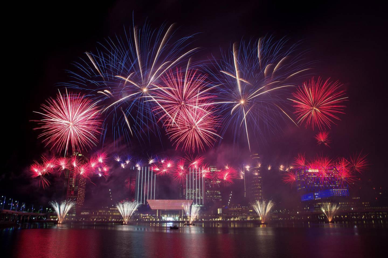 Abu Dhabi, United Arab Emirates, January 1, 2016:    New Year fireworks above the skyline of Al Maryah Island in Abu Dhabi on January 1, 2016. Christopher Pike / The National  Job ID: 24355 Reporter:  N/A Section: News Keywords:  *** Local Caption ***  CP0101-na-Al Maryah NYE-18.JPG