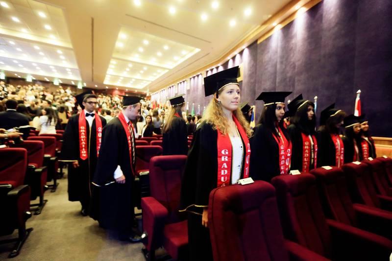 Dubai, May 30, 2013 - Students from Dubai International Academy prepare to graduate at the 5th IB Diploma Graduation Ceremony at American University  in Dubai, May 30, 2013. (Photo by: Sarah Dea/The National)