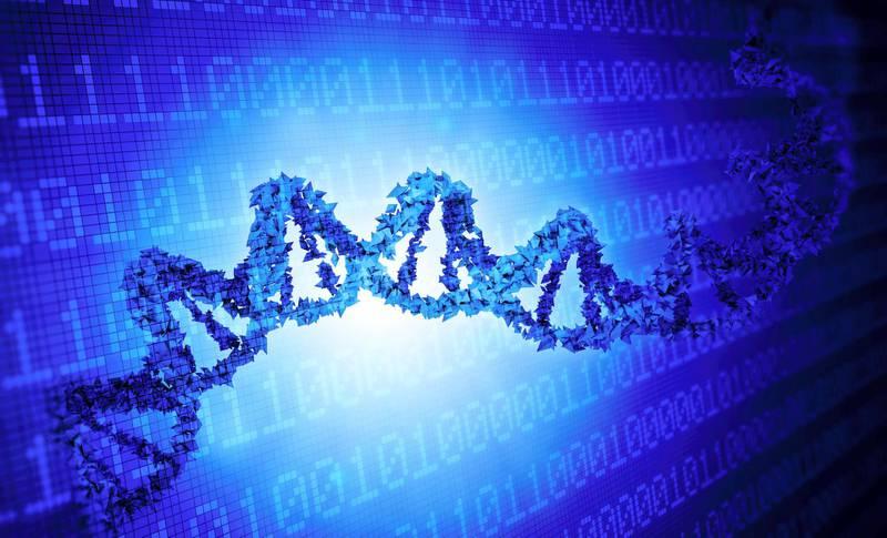 Deoxyribonucleic acid (DNA) and binary code, computer illustration.