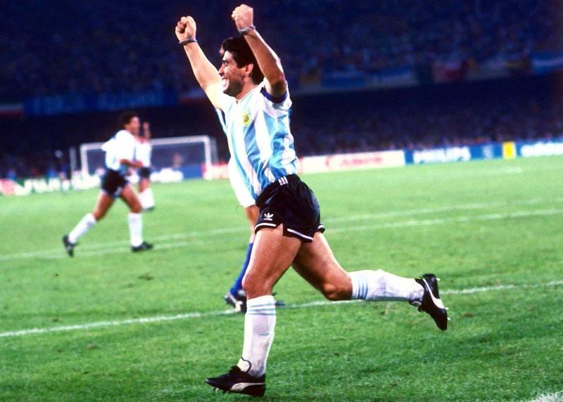 Italy v Argentina World Cup Italia 90 Semi-Final  Mandatory Credit : Action Images  Diego Maradona celebrates Argentina's goal