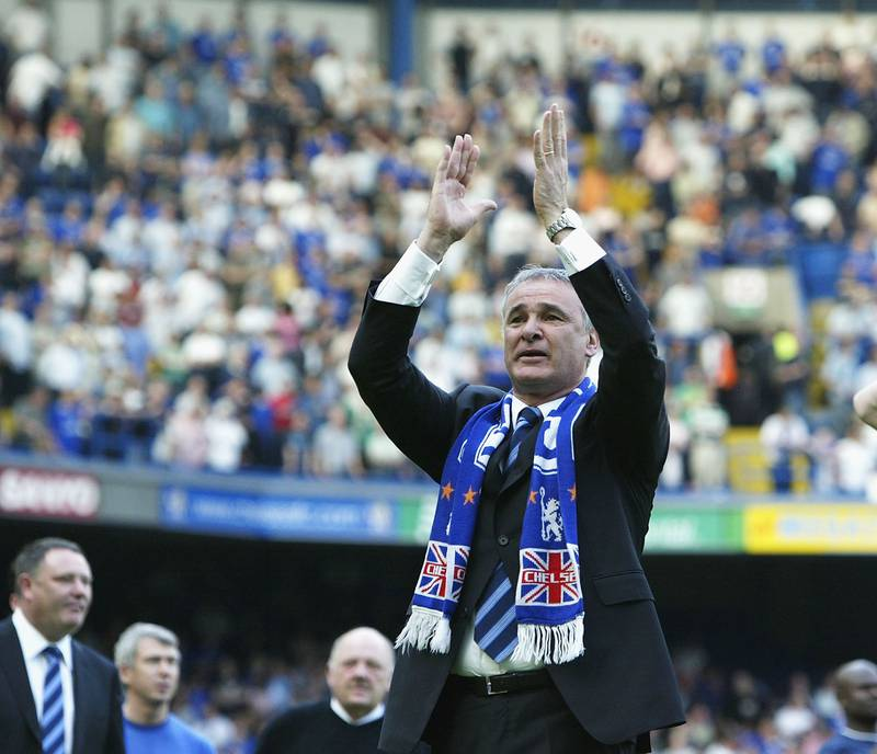 LONDON - MAY 15: Chelsea Manager Claudio Ranieri salutes the fans after  the FA Barclaycard Premiership match between Chelsea and Leeds United at Stamford Bridge on May 15, 2004 in London.  (Photo by Ben Radford/Getty Images)