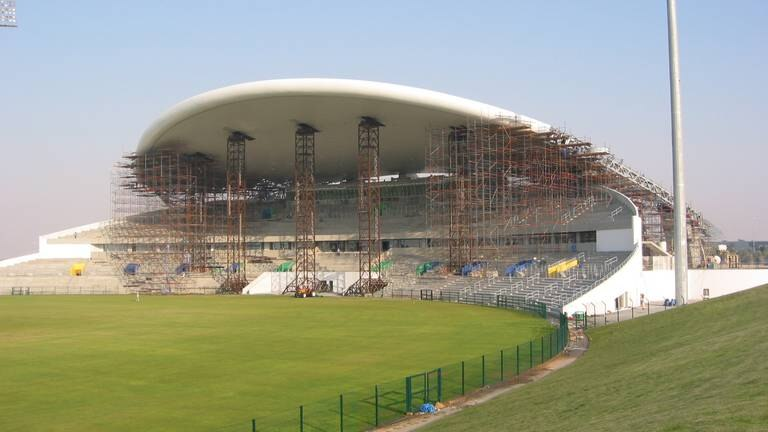 An image that illustrates this article How Zayed Cricket Stadium was designed ... with coat hangers