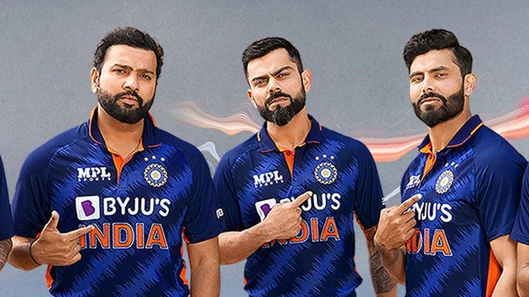 An image that illustrates this article India unveil new T20 World Cup jersey on Dubai's Burj Khalifa