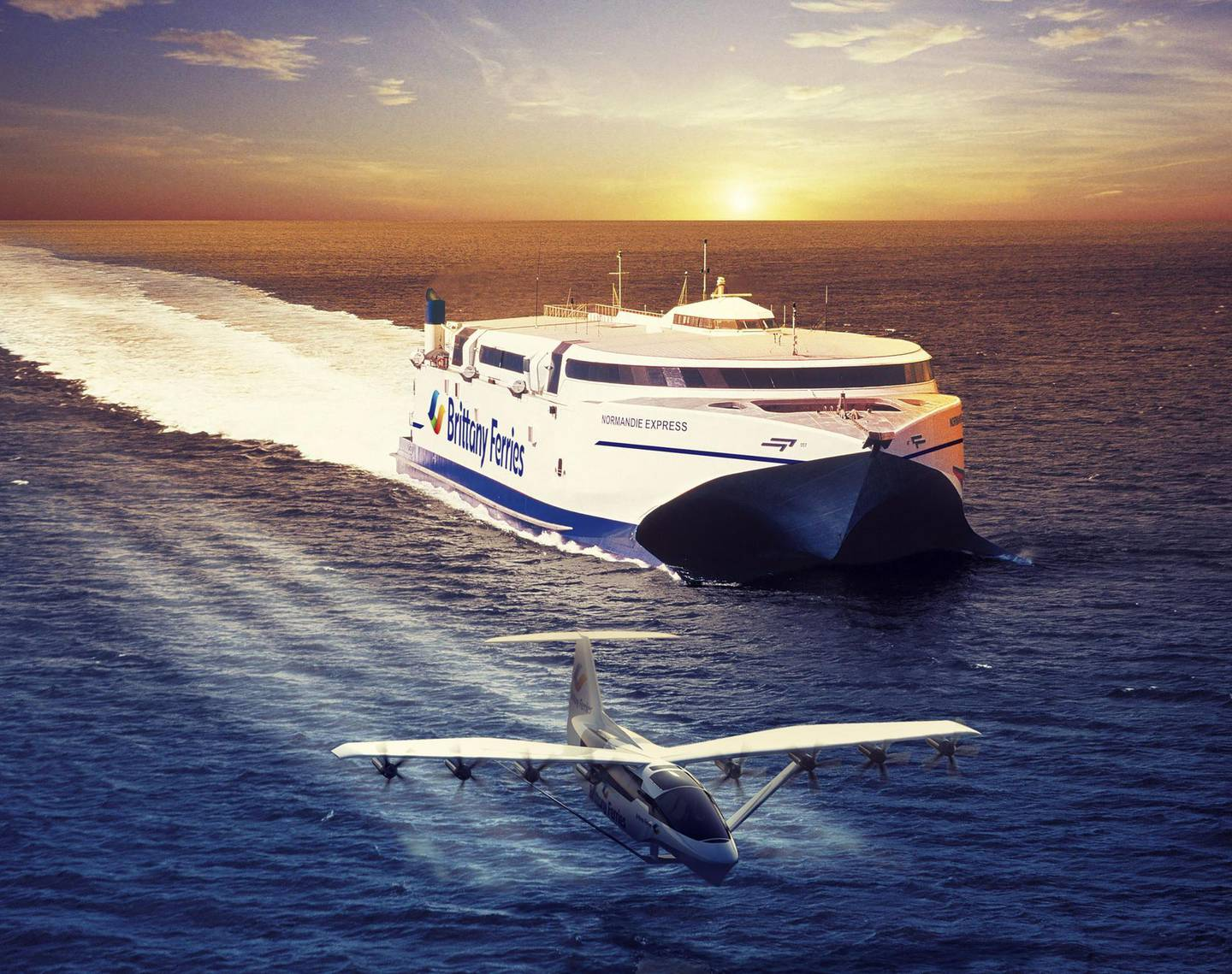 """A handout picture released by Regent - Brittany Ferries company on June 12, 2021, shows an artist concept depicting the Seaglider (front), a 100% electric flying boat created by the US REGENT (Regional Electric Ground Effect Nautical Transport) start-up based in Boston. Brittany Ferries signed a partner agreement to participate in the development of the Seagliders which will welcome from 50 to 150 passengers for trips between Great Britain and France within 2028. - RESTRICTED TO EDITORIAL USE - MANDATORY CREDIT """"AFP PHOTO / REGENT - BRITTANY FERRIES """" - NO MARKETING - NO ADVERTISING CAMPAIGNS - DISTRIBUTED AS A SERVICE TO CLIENTS  / AFP / REGENT - BRITTANY FERRIES / STR / RESTRICTED TO EDITORIAL USE - MANDATORY CREDIT """"AFP PHOTO / REGENT - BRITTANY FERRIES """" - NO MARKETING - NO ADVERTISING CAMPAIGNS - DISTRIBUTED AS A SERVICE TO CLIENTS"""