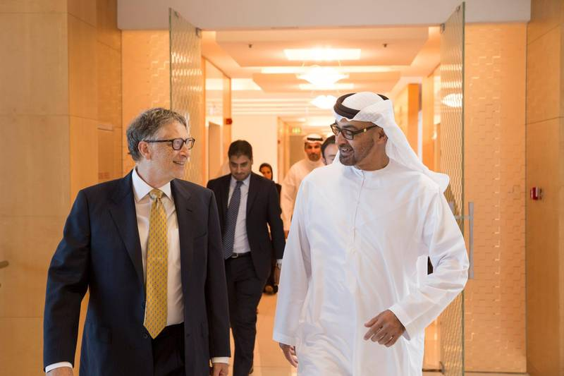 ABU DHABI, UNITED ARAB EMIRATES - December 6, 2015: HH Sheikh Mohamed bin Zayed Al Nahyan, Crown Prince of Abu Dhabi and Deputy Supreme Commander of the UAE Armed Forces (R), receives Bill Gates, Co-chair, Bill & Melinda Gates Foundation (L), prior to the Heroes of Polio Eradication (HOPE) awards ceremony at Al Mamoura. ( Ryan Carter / Crown Prince Court of Abu Dhabi ) *** Local Caption ***  20151206RC_C141008.jpg