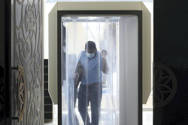 Dubai, United Arab Emirates - Reporter: N/A. News. Covid-19/Coronavirus. Midday prayers are performed at Al Farooq Omar Bin Al Khattab Mosque in Dubai. Wednesday, July 1st, 2020. Dubai. Chris Whiteoak / The National