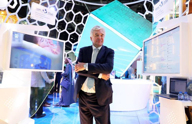 DUBAI, UNITED ARAB EMIRATES , Jan 29  – 2020 :- Dr Gareth Goodier, CEO of SEHA at the SEHA stand at the Arab Health conference held at Dubai World Trade Centre in Dubai. ( Pawan  Singh / The National ) For News/Online. Story by Daniel Sanderson