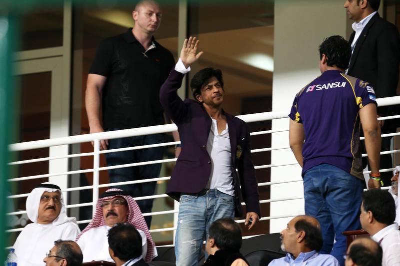 ABU DHABI , UNITED ARAB EMIRATES Ð April 16 , 2014 : Shahrukh Khan , KKR owner during the IPL opening match between Mumbai Indians vs Kolkata Knight Riders at Zayed Cricket Stadium in Abu Dhabi. ( Pawan Singh / The National ) For Sports. Story by Osman