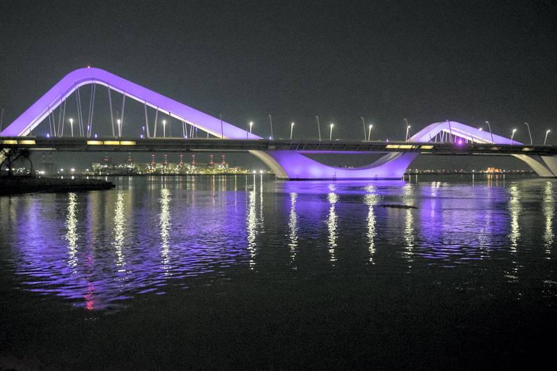 ABU DHABI, UNITED ARAB EMIRATES - May 3 2019.Abu Dhabi's Sheikh Zayed Bridge.(Photo by Reem Mohammed/The National)Reporter: Section: NA