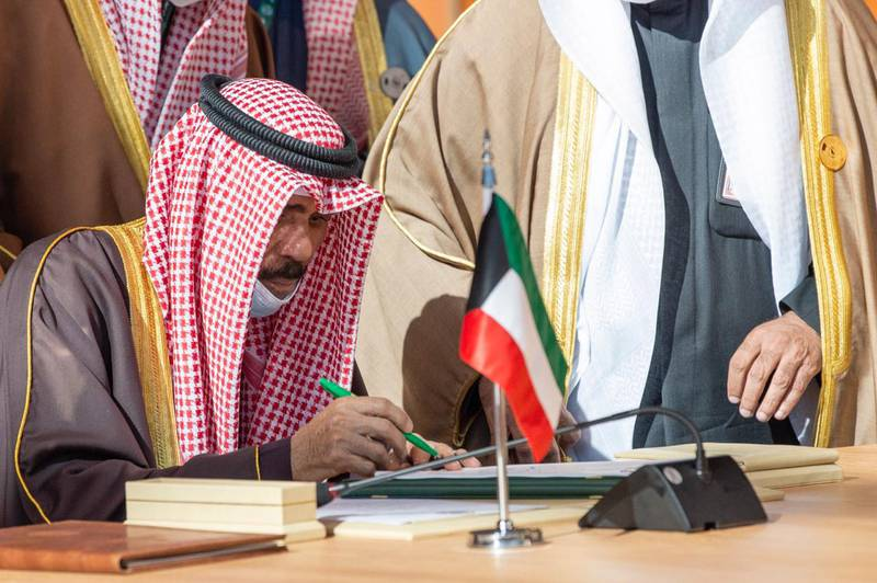 Kuwait Emir Sheikh Nawaf Al Sabah signing the Al Ula statement during this summit. Courtesy Ministry of Foreign Affairs - Saudi Arabia