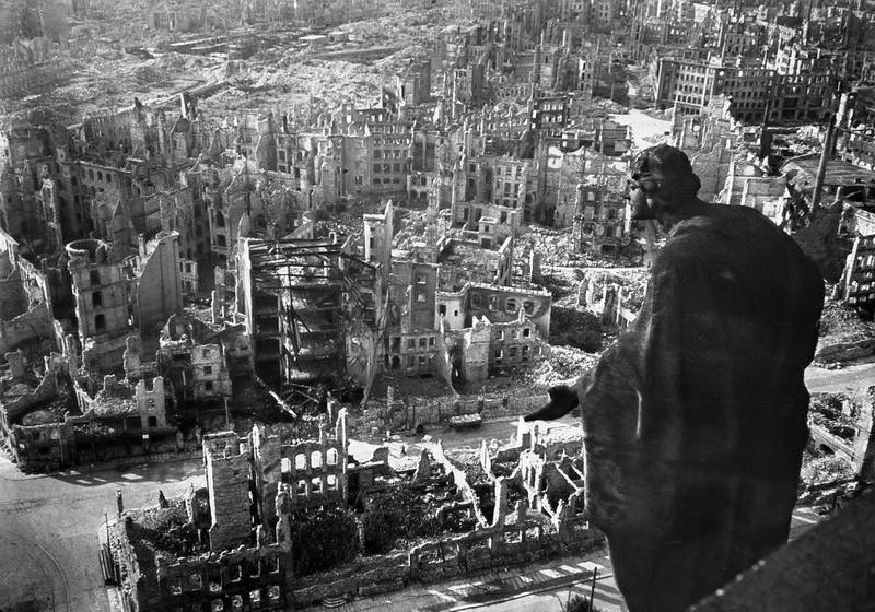 """View taken from Dresden's townhall of the destroyed Old Town after the allied bombings on 13/14 February 1945. The Frauenkirche (Church of Our Lady, not seen in the picture) situated in the city centre, was reduced to rubble during 2nd World War allied bombing, and has now been restored to its former glory at a cost of EUR 130 million. The church will be inaugurated 30 October 2005. (Photo by Walter HAHN / SLUB DRESDEN / AFP) / RESTRICTED TO EDITORIAL USE - MANDATORY CREDIT """"AFP PHOTO / / SLUB DRESDEN DEUTSCHE FOTOTHEK/ WALTER HAHN"""" - NO MARKETING - NO ADVERTISING CAMPAIGNS - DISTRIBUTED AS A SERVICE TO CLIENTS"""