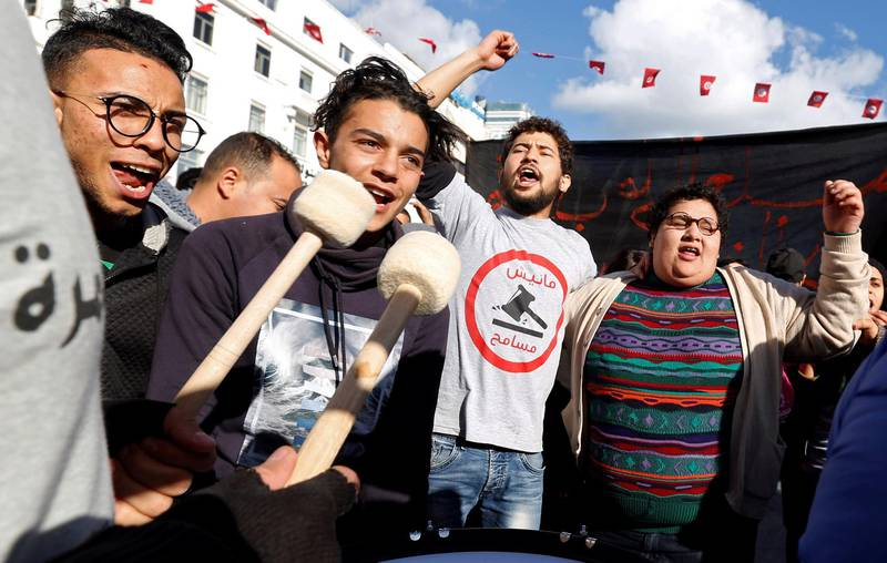 Protesters shout slogans against rising prices and tax increases in Tunis, Tunisia January 13, 2018. REUTERS/Zoubeir Souissi