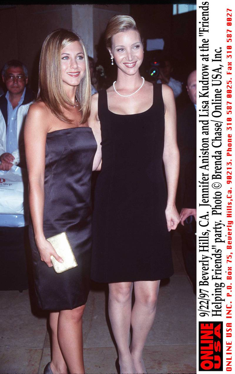"""9/22/97 Beverly Hills, CA. Jennifer Aniston and Lisa Kudrow at the """"Friends Helping Friends"""" party."""