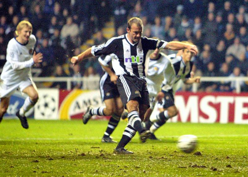 Newcastle captain Alan Shearer scores a penalty goal against Dynamo Kiev at a UEFA Champions league match at St. James's Park stadium in Newcastle, 29 October 2002.  AFP PHOTO/Odd ANDERSEN (Photo by Odd ANDERSEN / AFP)