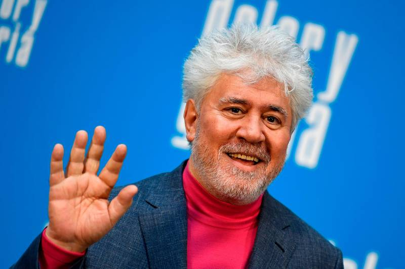 """(FILES) In this file photo taken on March 12, 2019, spanish film director Pedro Almodovar poses during the photocall of his film """"Dolor y Gloria"""" (Pain and Glory) in Madrid. The list of the movies competing in this year's Cannes film festival will be announced on April 18, 2019. / AFP / GABRIEL BOUYS"""