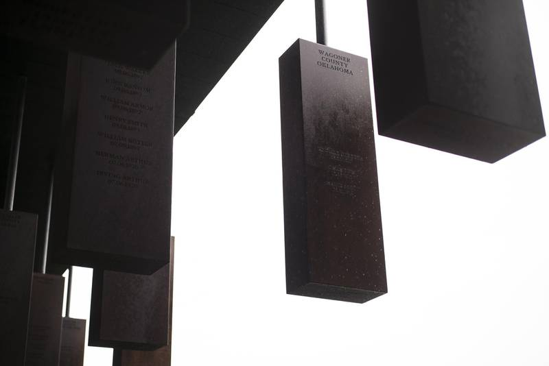 MONTGOMERY, AL - APRIL 26: Markers display the names and locations of individuals killed by lynching at the National Memorial For Peace And Justice on April 26, 2018 in Montgomery, Alabama. The memorial is dedicated to the legacy of enslaved black people and those terrorized by lynching and Jim Crow segregation in America. Conceived by the Equal Justice Initiative, the physical environment is intended to foster reflection on America's history of racial inequality.   Bob Miller/Getty Images/AFP