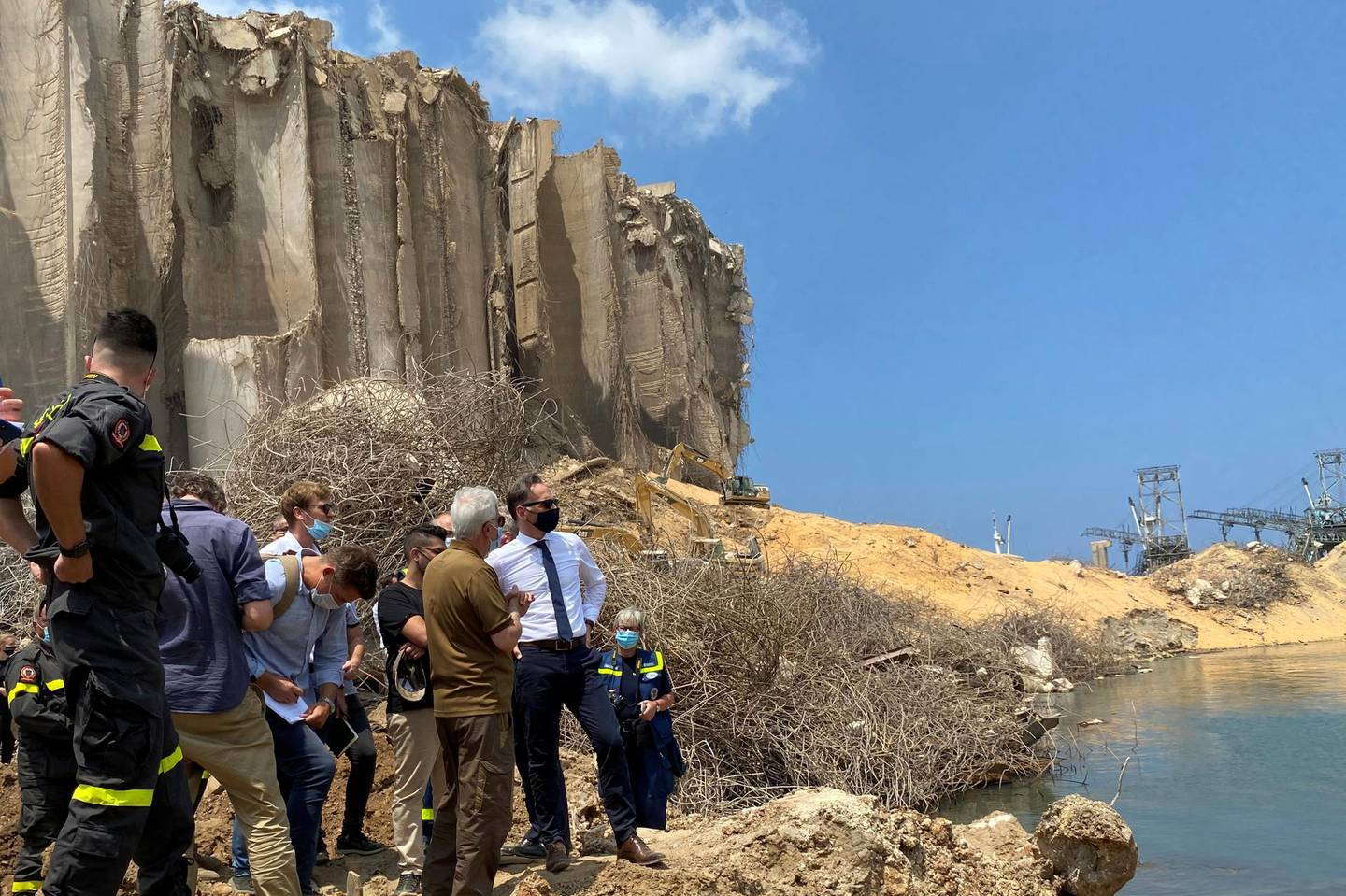 German Foreign Minister Heiko Maas views the damage at the site of a massive explosion at Beirut port, Lebanon August 12, 2020. REUTERS/Andreas Rinke
