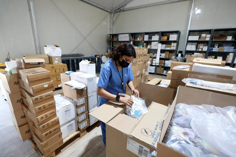 Nurse manager Elizabeth Mathew visits the store during a visit to the SEHA field hospital for Covid-19 patients in Sharjah on April 25th, 2021. Chris Whiteoak / The National.  Reporter: Kelly Clarke for News