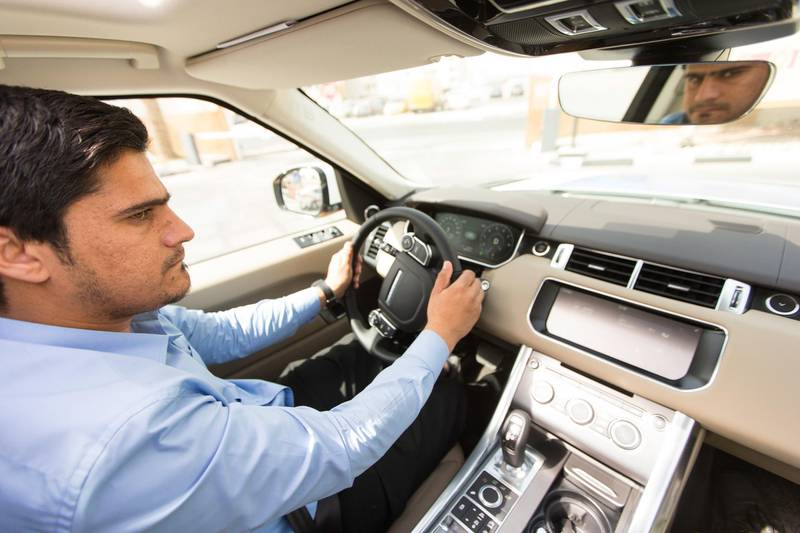Dubai, United Arab Emirates, June 8, 2017:     Rashid Ghulam Nadir drives a Range Rover, one of the vehicles available for the Emirates Driving Institute's platinum driving course at their Al Qusais location in Dubai on June 8, 2017. Christopher Pike / The National  Job ID: 79337 Reporter: Ramona Ruiz Section: News Keywords:  *** Local Caption ***  CP0608-na-driving-course-04.JPG