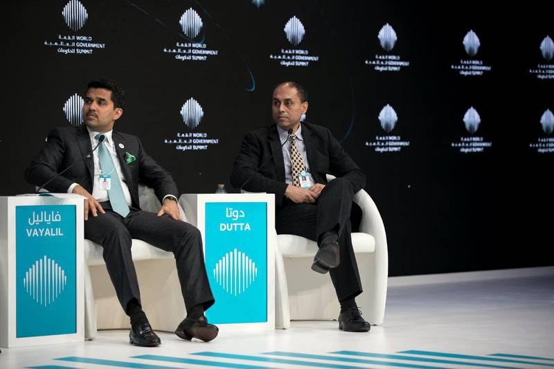 """DUBAI, UNITED ARAB EMIRATES - Feb 11, 2018.   Dr. Shamsheer Vayali, MD, VPS Healthcare; and Soumitra Dutta, Dean of the Cornell SC Johnson College of Business; at the """"Personalized Healthcare & The Future of Medicine"""" session at World Government Summit 2018.  (Photo: Reem Mohammed/ The National)  Reporter:  Section: NA"""