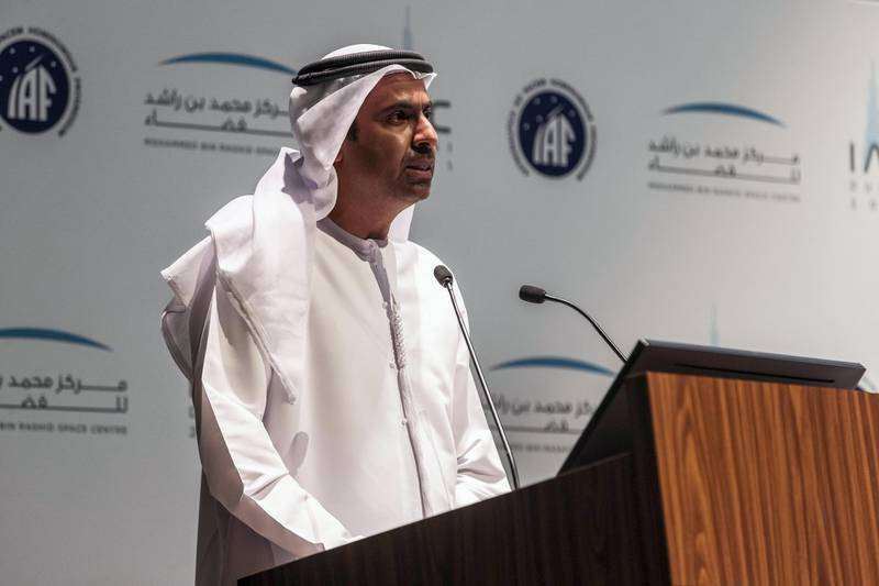 H. E. Yousuf Hamad Al Shaibani, Director General MBRSC. 72nd International Astronomical Congress Press ConferencePress conference by MBRSC on the world's largest space conference, 72nd International Astronautical Congress, taking place in Dubai this October with the International Astronautical Federation, on May 18 th, 2021. Antonie Robertson / The National.Reporter: Sarwat Nasir for National.