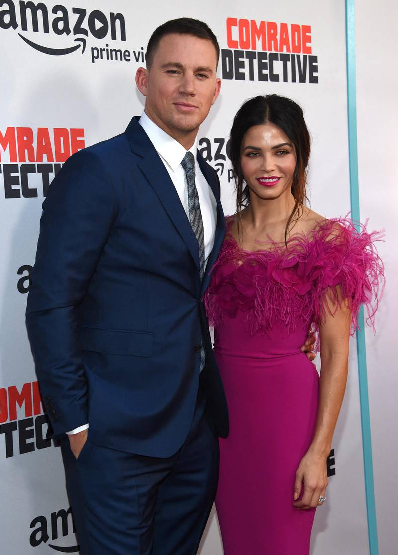Channing Tatum and Jenna Dewan-Tatum attend the premiere of Comrade Detective at the Arclight theatre in Hollywood, on August 3, 2017. (Photo by CHRIS DELMAS / AFP)