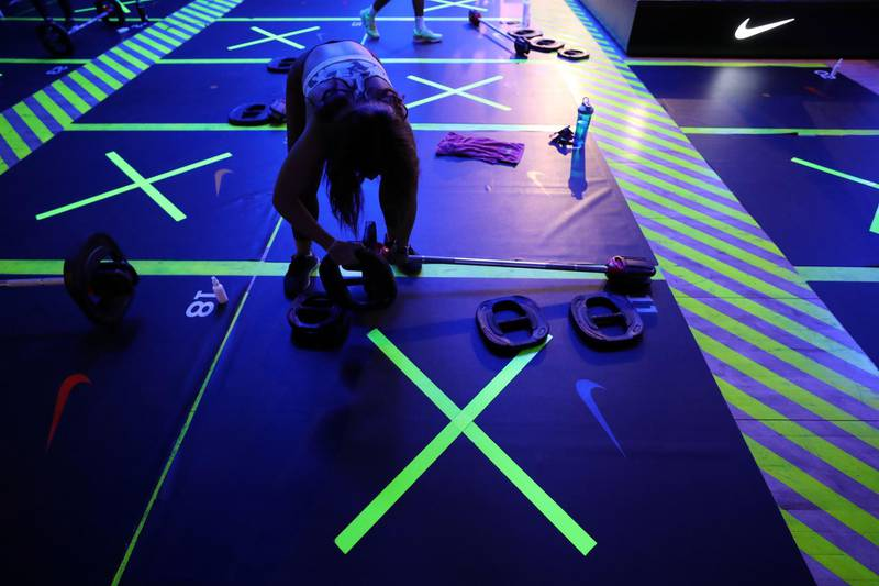 Dubai, United Arab Emirates - Reporter: N/A. News. Coronavirus/Covid-19. Hygiene and Covid-19 safety measures take place at a fitness class at Bare. Monday, October 19th, 2020. Dubai. Chris Whiteoak / The National