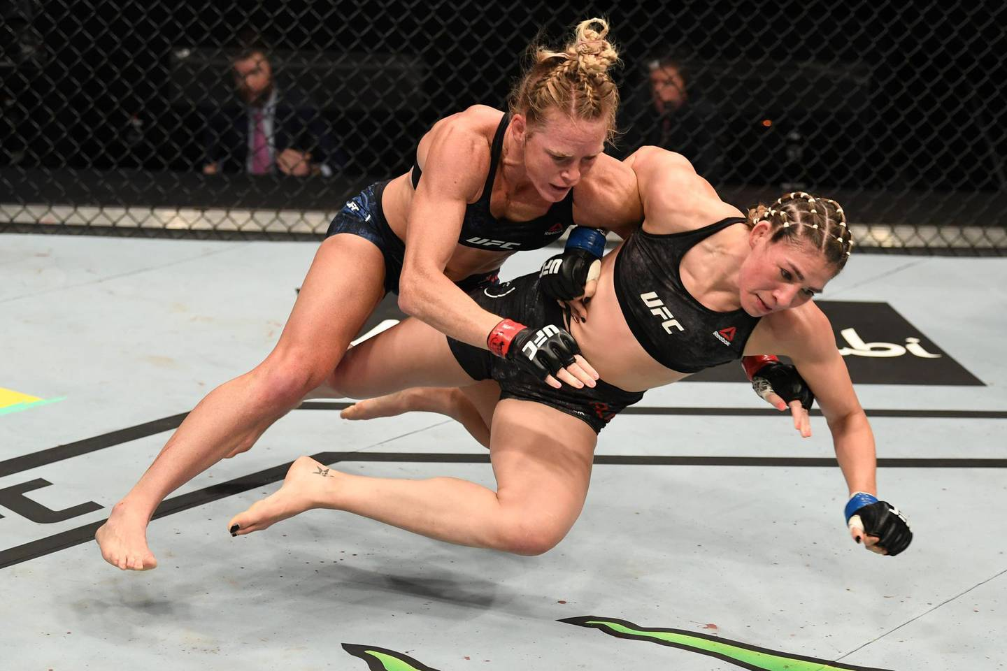 ABU DHABI, UNITED ARAB EMIRATES - OCTOBER 04:  (L-R) Holly Holm takes down Irene Aldana of Mexico in their women's bantamweight bout during the UFC Fight Night event inside Flash Forum on UFC Fight Island on October 04, 2020 in Abu Dhabi, United Arab Emirates. (Photo by Josh Hedges/Zuffa LLC)