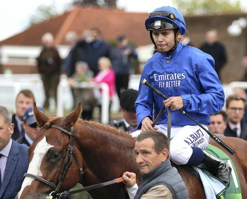 Jockey Mickael Barzalona on Earthlight after winning The Juddmonte Middle Park Stakes during day three of The Cambridgeshire Meeting at Newmarket Racecourse.