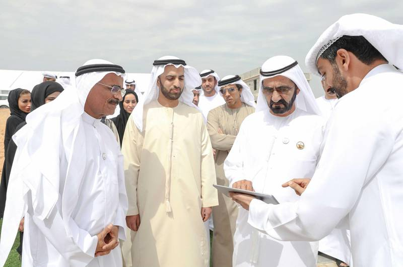 Vice President and Prime Minister of the UAE and Ruler of Dubai His Highness Sheikh Mohammed bin Rashid Al Maktoum reviewed the progress of housing construction and federal roads projects in Ras Al Khaimah. He was accompanied on his visit by Sheikh Mohammed bin Saud bin Saqr Al Qasimi, Crown Prince of Ras Al Khaimah; Lt. General Sheikh Saif bin Zayed Al Nahyan, Deputy Prime Minister and Minister of Interior; Sheikh Mansour bin Zayed Al Nahyan, Deputy Prime Minister and Minister of Presidential Affairs; Mohammad bin Abdullah Al Gergawi, Minister of Cabinet Affairs and The Future; and Dr. Abdullah bin Mohammed Belhaif Al Nuaimi, Minister of Infrastructure Development and Chairman of Sheikh Zayed Housing Programme. Dubai Media Office / Wam
