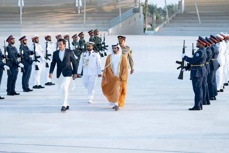 Prime Minister of Pakistan Imran Khan was welcomed by Sheikh Khalifa bin Tahnoun Al Nahyan, Executive Director of the Martyrs' Families' Affairs Office. Wam