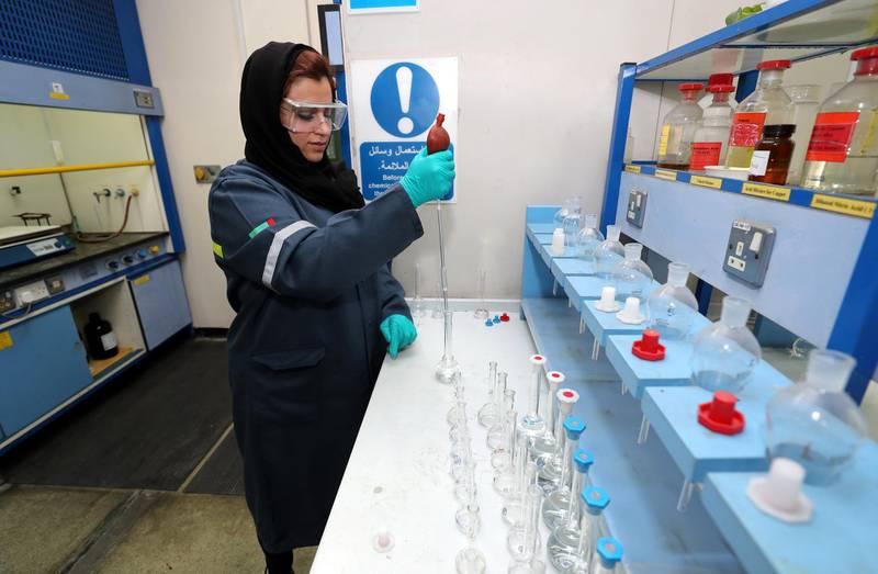Dubai, United Arab Emirates - March 1st, 2018: Shamsa Al Falasi is an Emirati woman scientist who works as an aluminium lab specialist. Thursday, March 1st, 2018. Jebel Ali, Dubai. Chris Whiteoak / The National