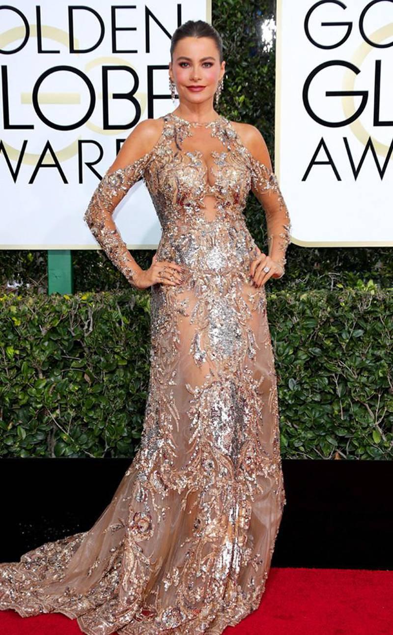 Celebrities wear Zuhair Murad at the 2017 Golden Globes. Courtesy of Harvey Nichols Dubai *** Local Caption ***  AL09 online_Sofia%20Vergara%20in%20Zuhair%20Murad.jpg