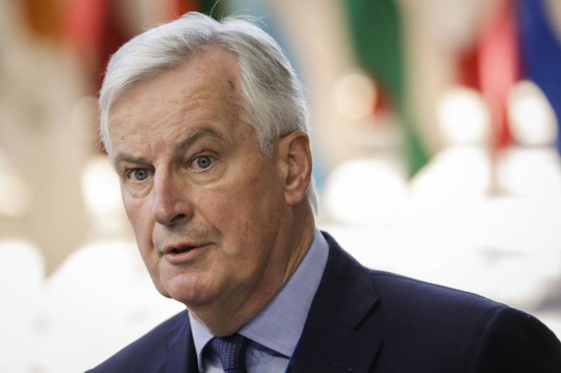 """Brexit Chief Negotiator Michel Barnier arrives to take part in the last day of the European Union leaders' summit, without Britain, to discuss Brexit and eurozone reforms on June 29, 2018 at the Europa building in Brussels. EU leaders clinched a hard-won migration deal during all-night talks on June 29, that Italy's hardline new premier said meant his country was """"no longer alone"""" in shouldering the responsibility for migrants. - Belgium OUT  / AFP / BELGA / THIERRY ROGE"""