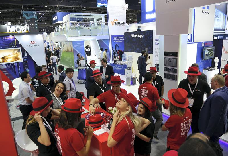 Dubai, 08, Oct, 2017 : Visitors at the Redhat stand during the  37th Gitex Technology Week at the World Trade Centre in Dubai. Satish Kumar / For the National