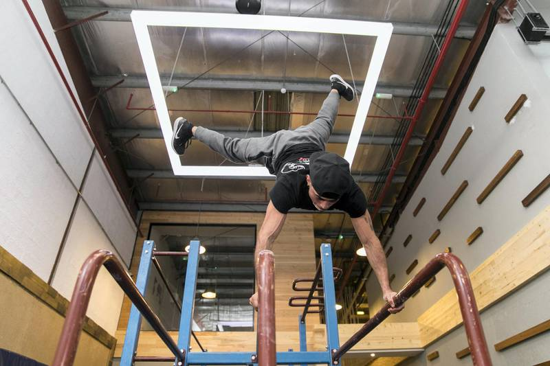 DUBAI, UNITED ARAB EMIRATES - NOV 16:Calisthenics champion Eryc Ortiz trains at Gravity Gym in Quoz(Photo by Reem Mohammed/The National)Reporter: Ann Marie McQueenSection: LF