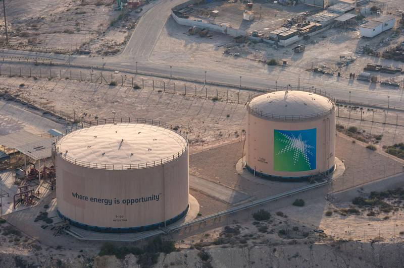 """A handout picture provided by Energy giant Saudi Aramco, Saudi Arabia's state-owned oil and gas company, shows its Dhahran oil plants, in eastern Saudi Arabia on February 11, 2018. (Photo by AHMAD EL ITANI / Saudi Aramco / AFP) / === RESTRICTED TO EDITORIAL USE - MANDATORY CREDIT """"AFP PHOTO / HO /ARAMCO"""" - NO MARKETING NO ADVERTISING CAMPAIGNS - DISTRIBUTED AS A SERVICE TO CLIENTS ==="""