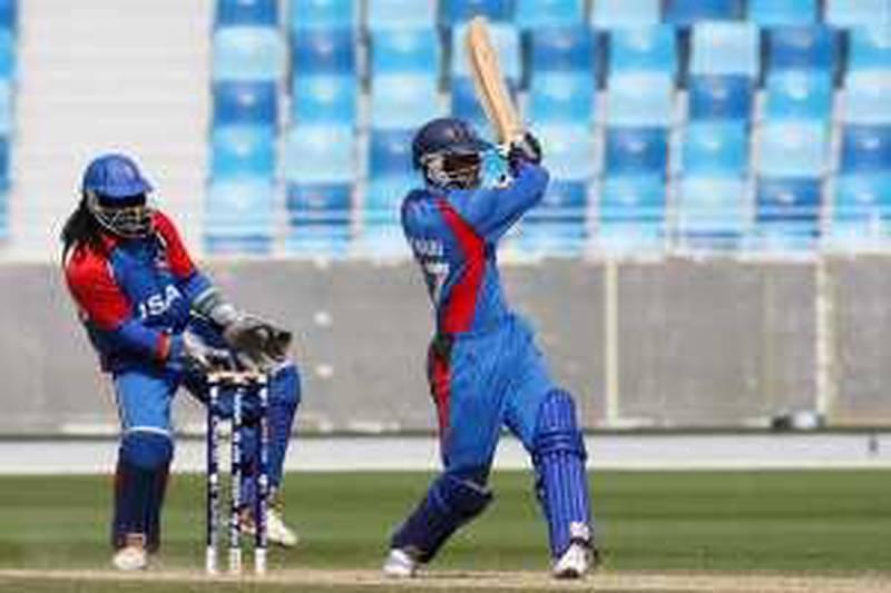 DUBAI. 11th February  2010.  ICC World Twenty20 Qualifer. USA V AFGHANISTAN. Mohammad Nabi Eisakhil in action for Afghanistan  at the Dubai Cricket stadium yesterday(thurs) Stephen Lock   /  The National  .