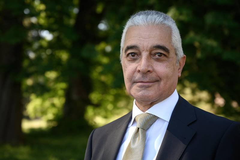 """Candidate for the Director General of the World Trade Organization Hamid Mamdouh poses on May 28, 2020 in Geneva during an interview with AFP. - """"It's time"""" to have an African at the head of the WTO, for the first time, says Swiss-Egyptian Hamid Mamdouh, who covets the soon-to-be-vacant post of Director-General of the World Trade Organization (WTO). (Photo by Fabrice COFFRINI / AFP)"""